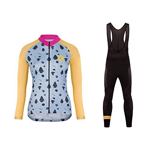 Uglyfrog Damen Winter Radtrikots mit Tr?gerhose Pro Rennen Team Thermal Radfahren Langarm Radhose MTB Radbekleidung Radfahren Anzug Cycling Jersey Pants Set Suit