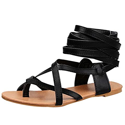 Oasap Women's Fashion Lace-up Flat Thong Sandals, Black EURO40/US9/UK7