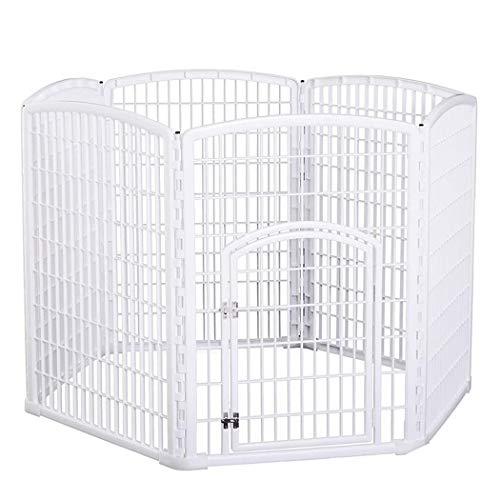 JGHH Pet Fence Weiß Holzzaun Sechs-Panel-Haustier-Sicherheits-Tür für kleine und mittlere Tiere