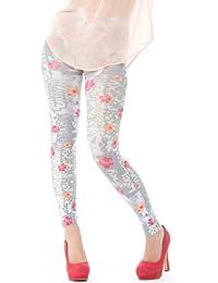 Hotlook Beauty and Love Legging grau weiß pink orange Blümchen Blumen bedruckt Fullprint Hotlook