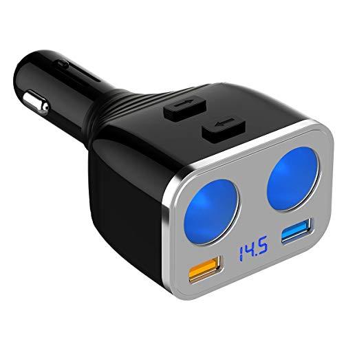 SONRU Caricabatteria da Auto, 80W Adattatorecon Doppio Accendisigari e Dual Porta USB QC 3.0 + 2.4A, Ricarica Rapida per iPhone, iPad, Android, Samsung, Huawei, LG, GPS, Dashcam, ECC.