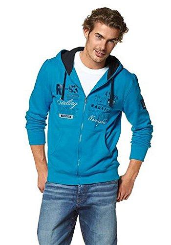 RHODE ISLAND Herren Sweatjacke mit Kapuze Hoodie Aqua XL (Island Kleidung)