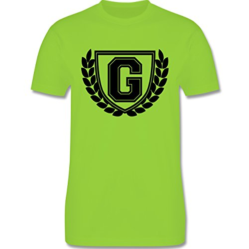 Anfangsbuchstaben - G Collegestyle - Herren Premium T-Shirt Hellgrün