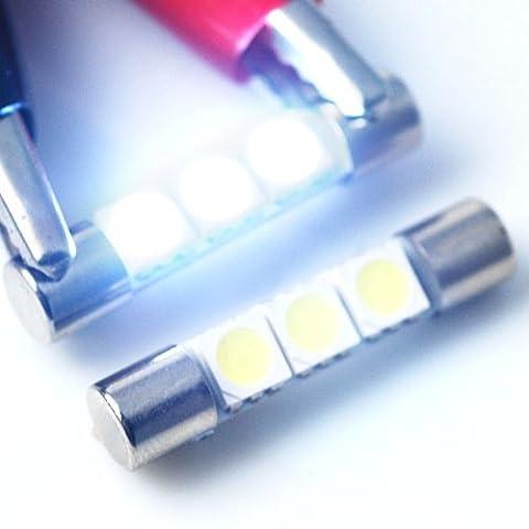 2x Xenon Weiß 6000K 3SMD 5050664131mm Sicherung LED Sonnenblende Kosmetikspiegel