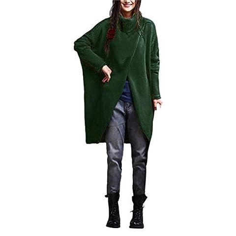 Reaso Femmes Chandail Loose Pull Oversize Pullover Laine Sweatshirt Manche longue Blouson Asymétrique Ourlet Vêtements Hiver Mode Veste Col roulé Gilet Grande Taille Tunique Outfit (4XL, Vert)