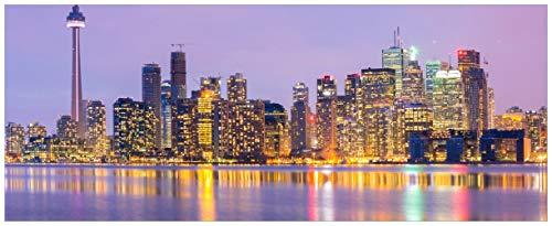 Wallario Glasbild Toronto Skyline - Kanada am Abend - 50 x 125 cm in Premium-Qualität: Brillante Farben, freischwebende Optik