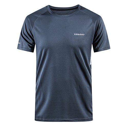 Herren Schnelltrocknendes Atmungsaktives und waschfestes kurzärmeliges Rundhals-Sport-T-Shirt/Laufmantel IM Freien Fitness-Kleidungen für Männer 1-4er Packung (Gray, S)