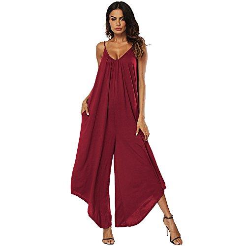LITTHING Pagliaccetto da donna Tuta Abbigliamento da mare Tuta lunga scollo a V Chic moda elegante sexy con tasche senza maniche Estate (Vino rosso, L)