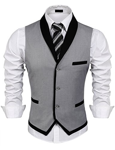Burlady Herren V-Ausschnitt Ärmellose Westen Slim Fit Weste Anzug Business Anzugweste (EU 48(Hersteller:S), A-Grau)