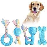 JYPS Puppy Chew Toys, 4pcs Juego de Juguete para la dentición del Perro con Bolas y Cuerdas de algodón Regalo Interactivo de
