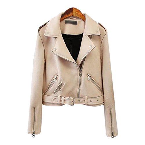 Baymate Damen Classics Jacke Elegant Wildleder Suede Kurz Jacket Outwear (Lederjacke Frauen Kurzen)