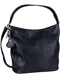 SIX Große weiche Shopper Tasche in Schwarz mit goldenem Herzanhänger und Leder Herz; Innentaschen (726-472)