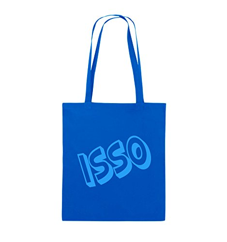 Comedy Bags - ISSO - COMIC SCHIEF - Jutebeutel - lange Henkel - 38x42cm - Farbe: Schwarz / Silber Royalblau / Blau