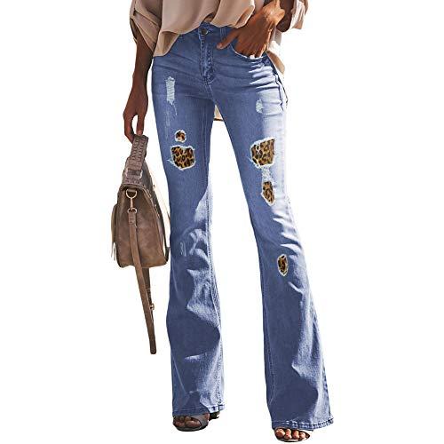 Fandecie Frauen Hohe Taille Bootcut Bein Gerade Jeans Stretch Leopard Denim Spleißen Bell-Bottom Pants Patch Up Hose - Hohe Bell-bottom-jeans Taille