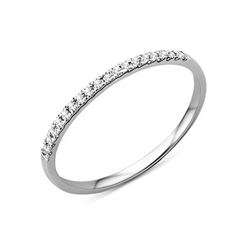 Miore Anillo de Oro Blanco de 9K con Diamantes para Mujer tamaño 16