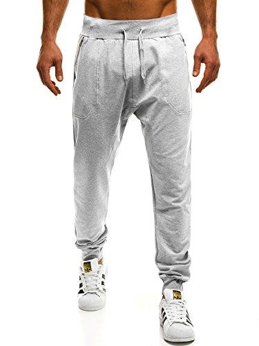 ozonee Mix Uomo Jogging Pantaloni per TEMPO LIBERO Pantaloni sport Jogging Jogger Pantaloni da ginnastica fitness SJ KK01 GRIGIO_ozonee_rh-2530