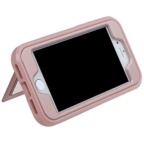 """xhorizon Schmale Passform Panzer schützende Stoßdämpfende Handyhülle, Doppelschicht, Versteckter Kreditkartenhalter, Brieftasche Handy Schutzhülle mit Spiegel für iPhone 7 / iPhone 8 [4.7""""] mit einem  Schwarz"""