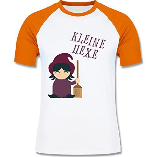 Halloween - Kleine Hexe süß - zweifarbiges Baseballshirt für Männer Weiß/Orange