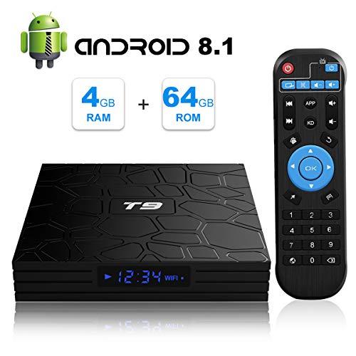 Android 8.1TV Box, T9Smart Box avec 4GB RAM 64GB ROM RK3328Quad Core 2.4Ghz/5GHz Dual Band WiFi 4K résolution H.265Bluetooth 4.1USB 3.0