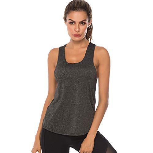 Fenverk Damen Sport Tank Top - Essential Fitness T-Shirt Tops Sporttop Yoga RingerrüCken Oberteil Laufen Funktions Shirt Active Tanktops Unterhemd Feinripp(Dunkelgrau,S)