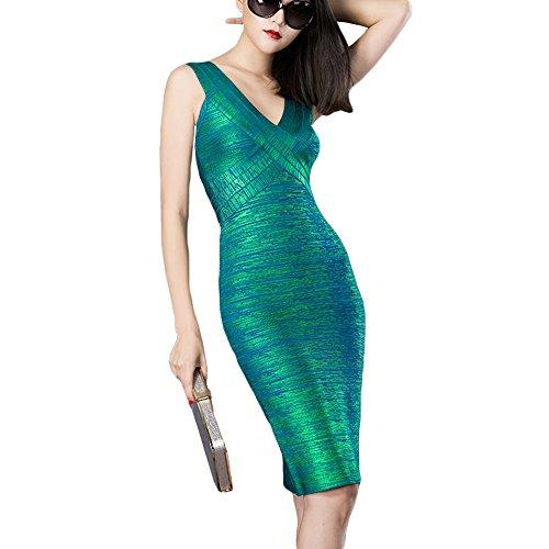 HLBandage Kunstseide Damen Reizvoller V-Ausschnitt Metallic Foliendruck Verband-Kleid(L,Grün) (Frauen Kleid Seide)