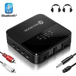 wsiiroon Bluetooth Adapter 5.0 Transmitter Empfänger 2 in 1 mit High Definition und Low Latency, LED Anzeige, Bluetooth Audio Adapter für Stereoanlage Kopfhörer, Optisches Toslink/RCA/AUX Kabel