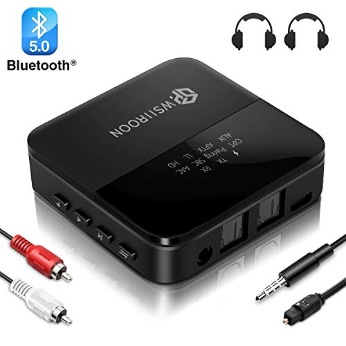 Bluetooth Adapter 5.0 Bluetooth Transmitter Empfänger 2 in 1 mit High Definition und Low Latency, LED Anzeige, Bluetooth Audio Adapter für Kopfhörer TV Stereoanlage , Optisches Toslink/RCA/AUX Kabel
