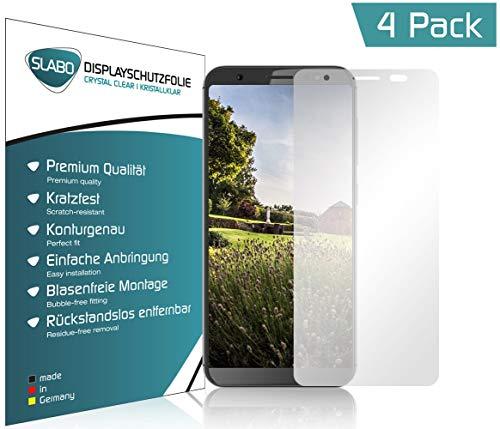 Slabo 4 x Bildschirmschutzfolie für Gigaset GS185 Bildschirmfolie Schutzfolie Folie Zubehör (verkleinerte Folien, aufgr& der Wölbung des Bildschirms) Crystal Clear KLAR - unsichtbar Made IN Germany