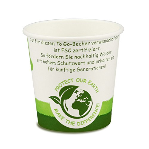 pack2go 1000 Premium Einweg Kaffeebecher-to-go Pappe - 4oz / 100ml, Ø 62mm, FSC-Zertifiziert, Coffee to go Becher Green Nature, Heißgetränke-Pappbecher, Hot Cup aus Hartpapier, to Go Pappbecher