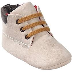 Zapatos de bebé Auxma Bebé niña niño zapatos,cuero suela suave infantil niño zapatos con cordones (11cm(0-6 meses), Beige)