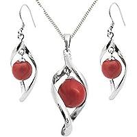 925 Sterling Silver Coral Round Silver Twist Fishhook Earrings - Organic Jewellery - May Birthstone td0PpfxBJ