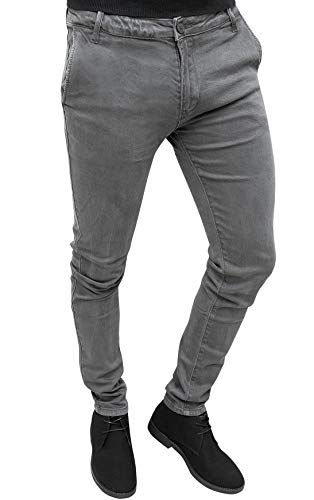 Evoga pantaloni casual uomo invernali slim fit (48, grigio)