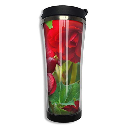 Bgejkos Red Begonia Leaves Stainless Steel Coffee Mug 14.2 Oz Travel Mug Leakproof Insulated - Leak-proof Insulated Travel Mug