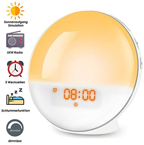 Wake Up Light, Lichtwecker LED mit Sonnenaufgangssimulation, Tageslichtwecker FM Radio Wecker mit Licht 7 Farben, 7 Wecktöne Alarm Clock Digital Uhr Nachtlicht Nachttischlampe für Kinder Erwachsenen (Wake-up-alarm)