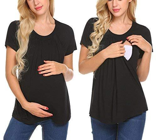 Unibelle Still-Shirt, Still-Top, Umstandstop, Schwangerschaftsshirt Dunkelgrau XXL, Schwarz