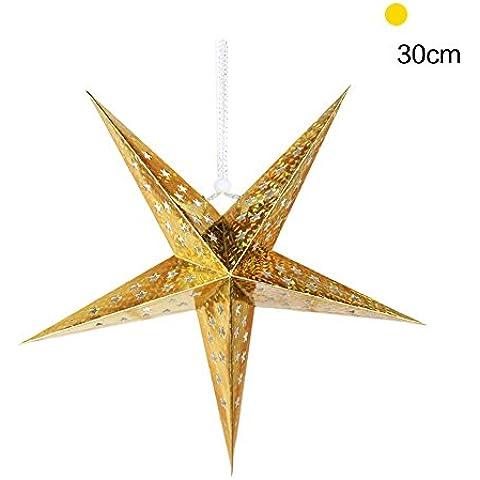 DAYAN Decoración boda del jardín de Halloween que cuelga la decoración del árbol de Navidad estrella colgante 30cm Color Dorado