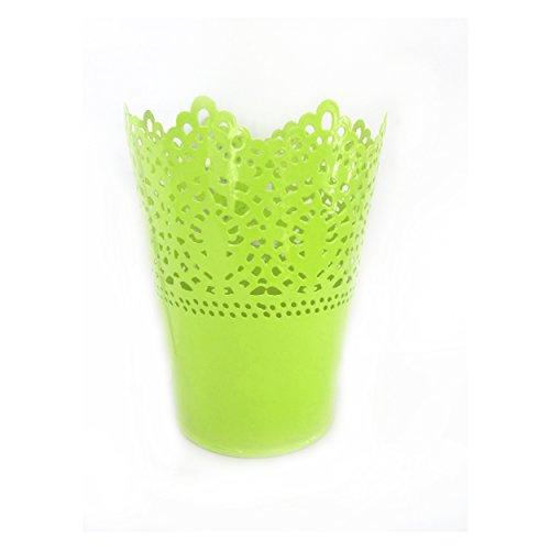 JUYUAN-EU Metall Krone Spitze Blumentopf Stift PinselTopf PinselBehalter Blume Übertopf Halter Decor Lace Hollowpot Grün