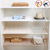 Yoillione Expandable Shelves Wardrobe Storage Closet Organiser Cupboard Storage Organiser, White Airing Cupboard Shelves Adjustable Storage Rack Wardrobe Dividers, Tension Shelf Separator