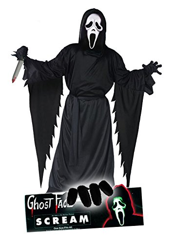 Scream Movie Edition Ghostface Komplett Set original Ghostface Scream Lizenz Latex Maske, Scream Kutte Erwachsenengröße (unisize) mit Gürtel, schwarze Handschuhe und blutigem Horror Killer Messer alles dabei für Halloween Party, (Maske Erwachsene Scream)