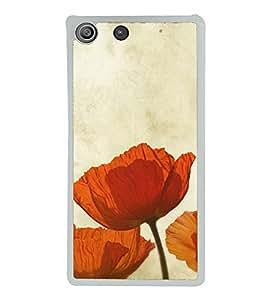 Beautiful Orange Flowers 2D Hard Polycarbonate Designer Back Case Cover for Sony Xperia M5 Dual :: Sony Xperia M5 E5633 E5643 E5663