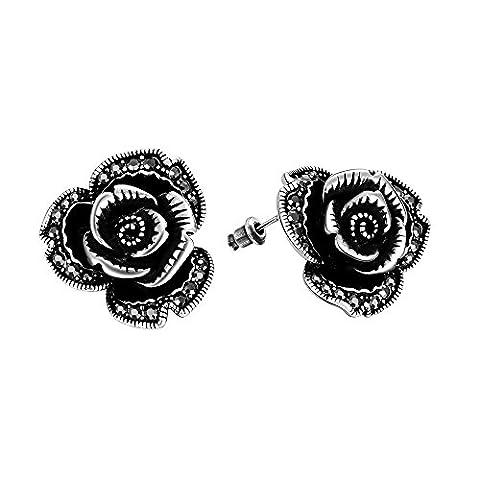 FushoP Jewelry Classique Rose Flower Post Stud Earrings Cubic Zirconia (Antique silver)