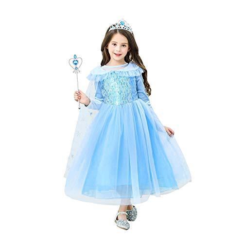 URAQT Mädchen Kostüm Eiskönigin Anna Kleid, Kinder Prinzessin Kleid Cosplay Kostüme, Kinder Verkleidung Party Weihnachten Halloween 120cm