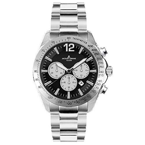 Jacques Lemans Herren Analog Quarz Uhr mit Edelstahl Armband 1-1751E