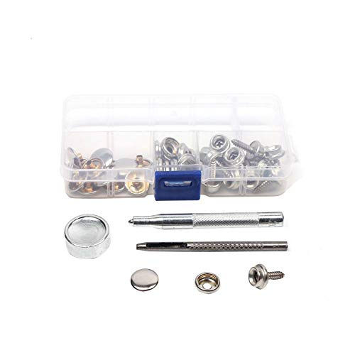 SUPERLOVE 45 Pieces Snap Fasteners Kit, Stainless Steel Marine Grade Canvas  And Upholstery Boat Cover Snap Button Fastener Kit For Setting Tools For