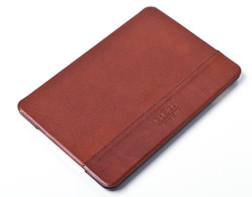 ICH&DU Tablet-Case Berlin | Zubehör für Original Apple iPad mini 4 | Flache Klapphülle aus echtem Leder in braun | mit Aufstellfunktion, Magnetverschluß und Visitenkartenfächern | Schutz-Hülle, Tablet-Tasche, Flip-Cover, Klapp-Cover