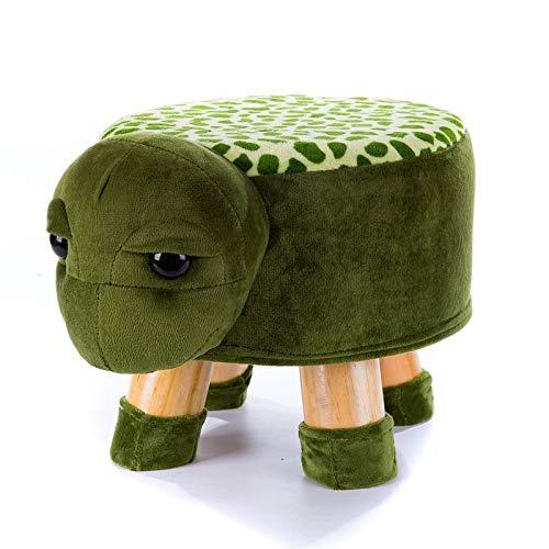 Renhe Handgemachte kleine süße Kinder Tier Stuhl Holz Hocker Kinder Schuhe Sofa mit Plüsch Cartoon Cover gehobene Baby Stühle Bank (Color : Ivory)