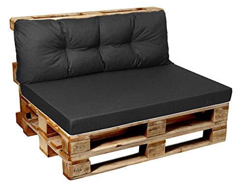 Garden factory Coussins pour Canape Euro Palette, Assise, Dossier, Set, extérieur intérieur Set (Assise 120x60+Dossier 120x50) Anthracite
