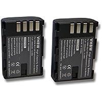 2 x vhbw Li-Ion Akku Set 2000mAh (7.2V) für Kamera Panasonic Lumix DMC-G9 wie DMW-BLF19, DMW-BLF19E.