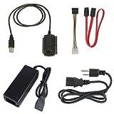 JX2 SATA/Pata/IDE Drive to USB 2.0 Adapter Converter Cable for Hard Drive HDD 2.5' 3.5', Compatible con USB 1.1/2.0/3.0, con Adaptador de alimentación de CA Externo Incluido