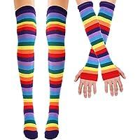 Freebily Mujeres Niña Calcetines de Algodón Rodilla de Arco Iris Rayas por Encima del Muslo Calcetines de Tubo Largo Cosplay/Brazo Calentador Guantes